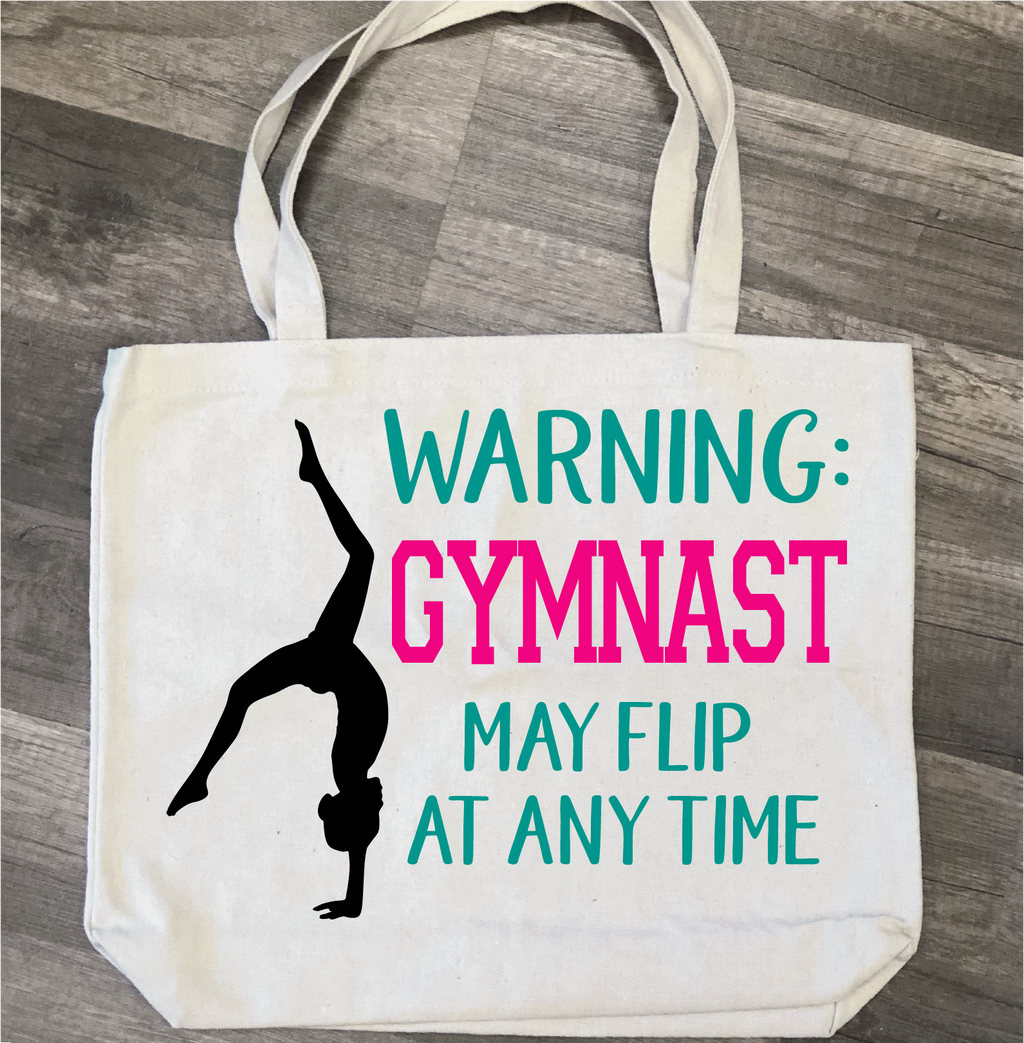 Warning Gymnast May Flip at Anytime Bag: Canvas Bag/Pillow Design - Paisley Grace Designs