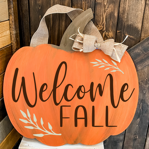 Welcome Fall Pumpkin Shape: DOOR HANGER DESIGN