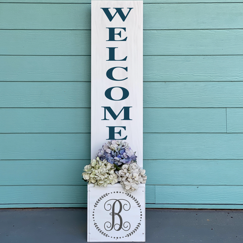 Welcome with Vine Monogram: Welcome Planter