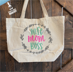Wife Mom Boss: Canvas Bag/Pillow Design - Paisley Grace Designs