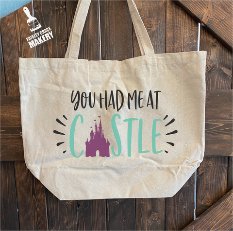 You had me at Castle: Canvas Bag - Paisley Grace Designs