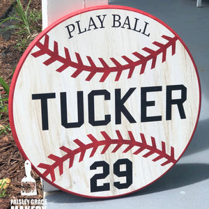 BASEBALL PERSONALIZED: ROUND DESIGN - Paisley Grace Designs