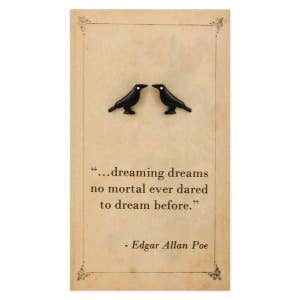 Literary Quotes Crow Post Earrings