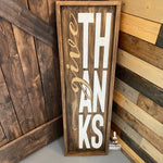 Give Thanks Block Letters Vertical: Plank Design