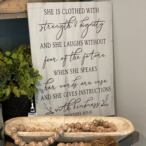 She is clothed with Strength and Dignity: Signature Design - Paisley Grace Designs