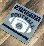 Football Personalized Eat Sleep Play: SQUARE DESIGN - Paisley Grace Designs