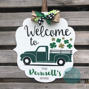 FOUR LEAF CLOVER TRUCK PERSONALIZED: DOOR HANGER DESIGN - Paisley Grace Designs