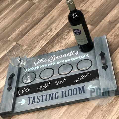 TASTING ROOM Personalized: FARMHOUSE TRAY DESIGN - Paisley Grace Designs