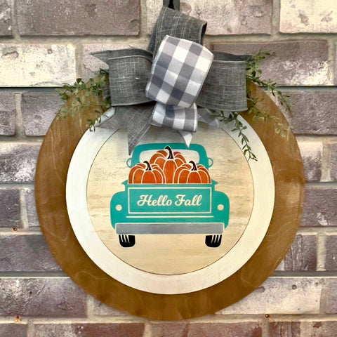 Truck Hello Fall: Swappable Round Door Hanger Insert