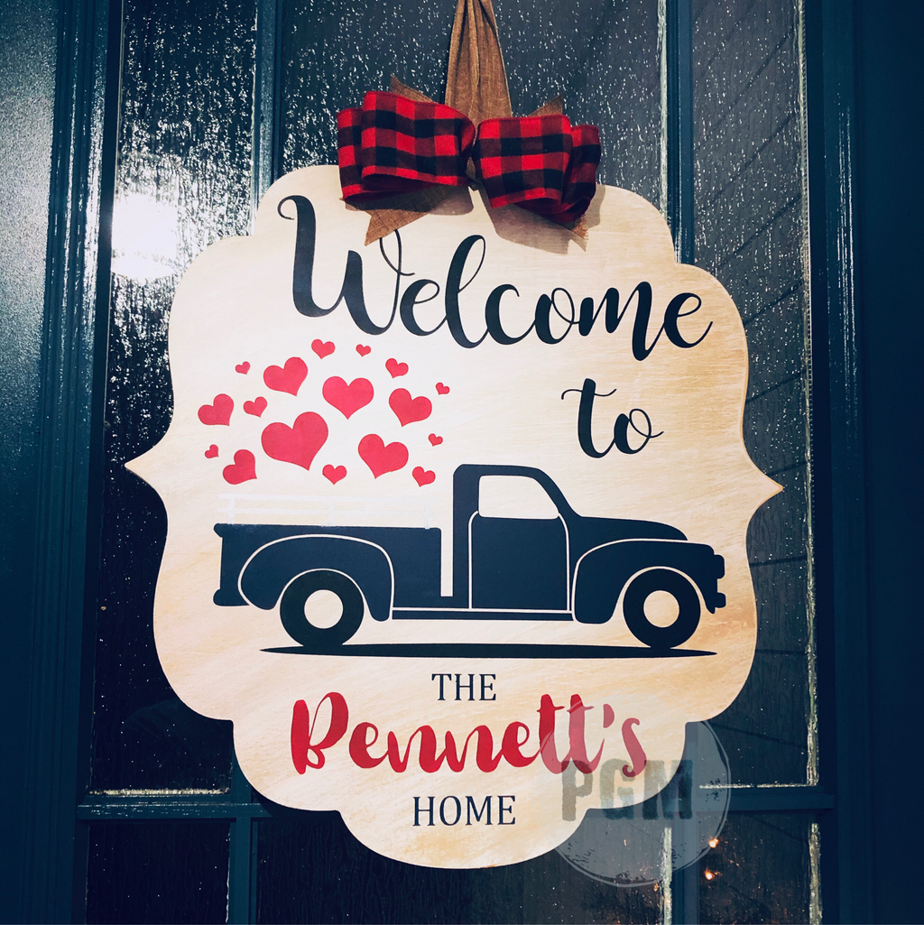 Heart Truck Personalized Bracket: DOOR HANGER DESIGN - Paisley Grace Designs