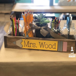 TEACHER NAME WITH PENCIL: WOOD BOX