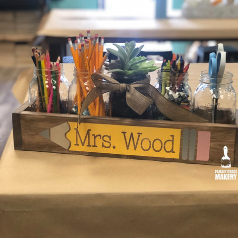 TEACHER NAME WITH PENCIL: WOOD BOX - Paisley Grace Designs