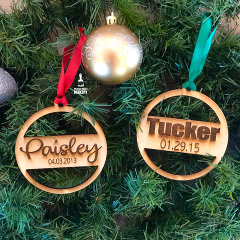 Personalized Name/Date Ornaments - Paisley Grace Designs