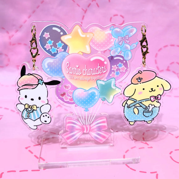 Pochacco & Pompompurin Always Together Charms Set with holder by Sanrio