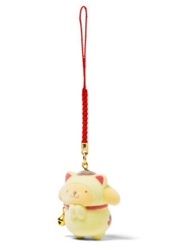 Pompompurin Maneki Neko Charm with Flocked Mascot by Sanrio