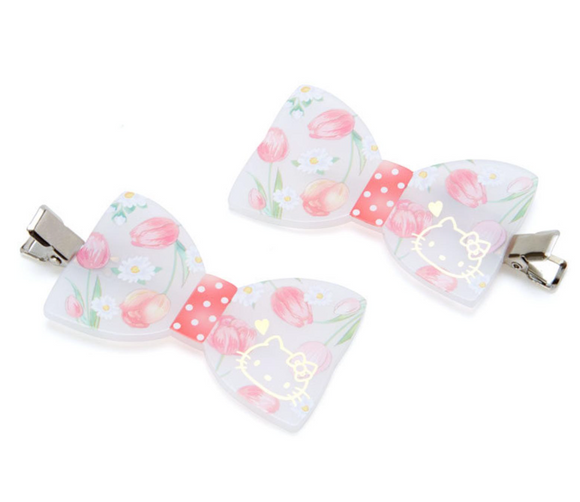 Hello Kitty Flower Bow Hair Clip Set by Sanrio