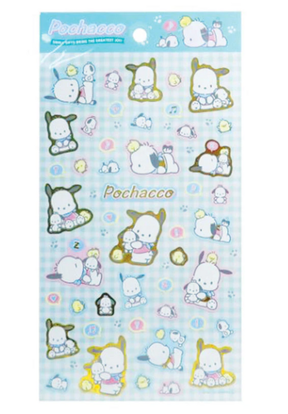 Pochacco Sticker Sheet with Metallic Gold by Sanrio