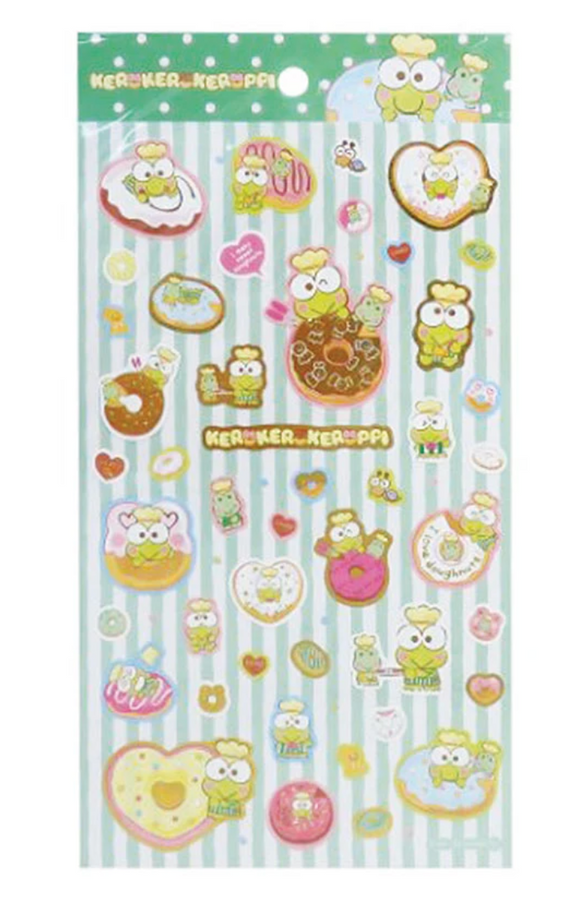 Keroppi Sticker Sheet with Metallic Gold by Sanrio
