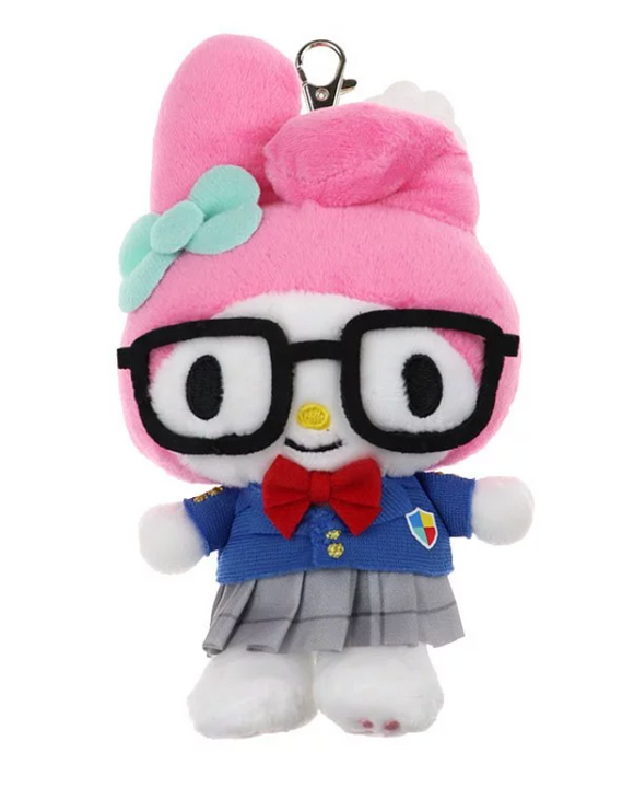 My Melody Plush/ Mascot Key Chain with School outfit & Glasses by Sanrio