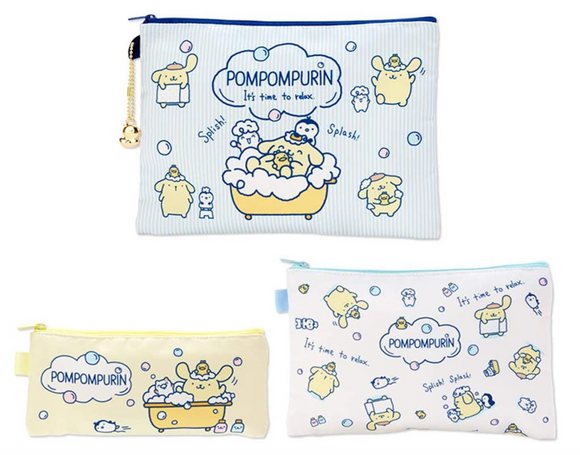 Pompompurin 3 Size/ Pieces Flat Pouch Bath Time Series by Sanrio
