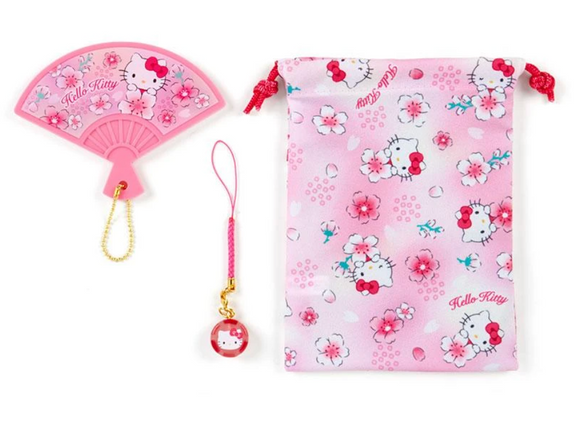 Hello Kitty Japanese Fan Shaped Mirror Set with Netsuke/ Charm by Sanrio