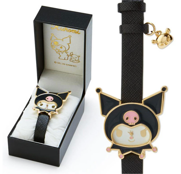 Kuromi Face Watch with Gold Outline by Sanrio