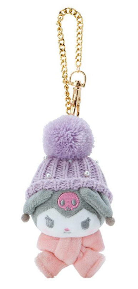 Kuromi Winter Hat Keychain by Sanrio