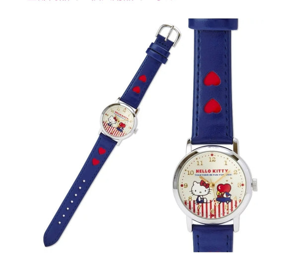 Hello Kitty Wristwatch with Heart/ Blue Strap by Sanrio - Megazone