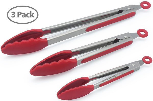 The hölm set of 3 Heavy Duty, Non-stick, Stainless Steel Kitchen Tongs Red (7, 9, 12 Inch)