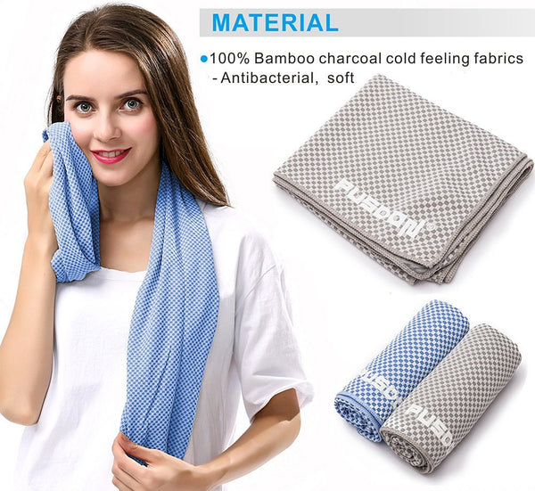 Soft Instant Cool Cloth Towel, 48-Inch Long Cooling Microfiber Healthy Natural Cool Scarf