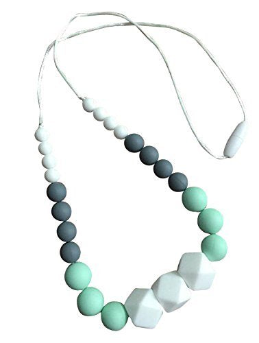 "Organic Silicone Teething Necklace | Stylish for Mom to Wear | Great Sensory Tool | ""Addison"