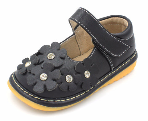 Black Crystal Flowers Squeaky Shoes