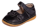 Black Toddler Shoe with Three Black Flowers