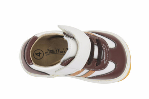 Little Maes Boutique Brown and Tan Boy Sneaker Squeaky Shoes