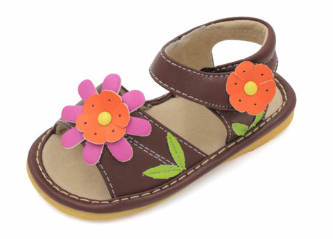 Brown With Orange Girl Squeaky Sandal