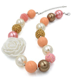 Gold White Rose Girl Gum Ball Necklace