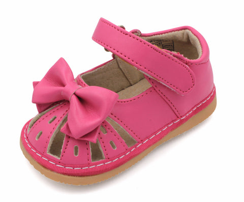 Hot Pink Bow Squeaky Sandals