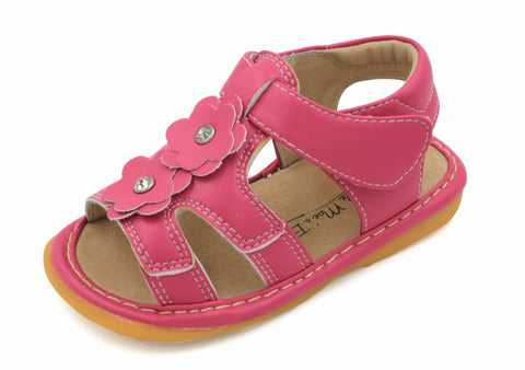 Squeaky shoes for toddlers girls hot pink two flower sandals hot pink two flower squeaky sandal mightylinksfo