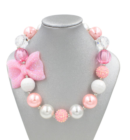 Light Pink Bow Girl Necklace