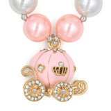 Light Pink Gold Carriage Girl Gum Ball Necklace