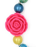 Multi Color Pink Rose Girl Gum Ball Necklace