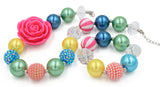 Multi Color Pink Rose Girl Gum Ball Necklace And Bracelet