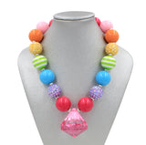 Rainbow Pink Diamond Girl Gum Ball Necklace