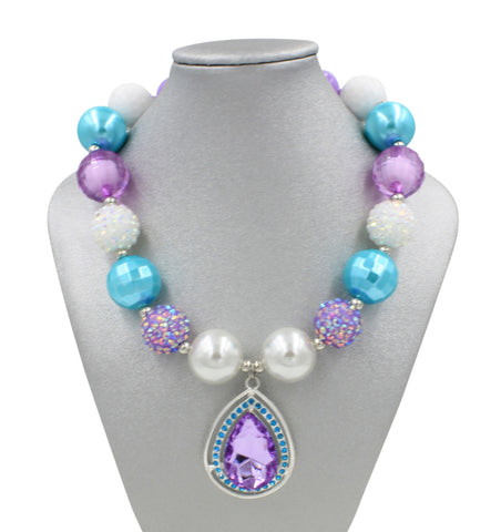 Purple Tear Drop Gem Girl Gum Ball Necklace