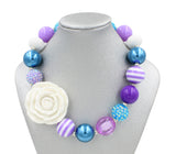 Purple White Rose Girl Gum Ball Necklace