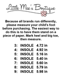 Squeaky Shoe Sizing Chart