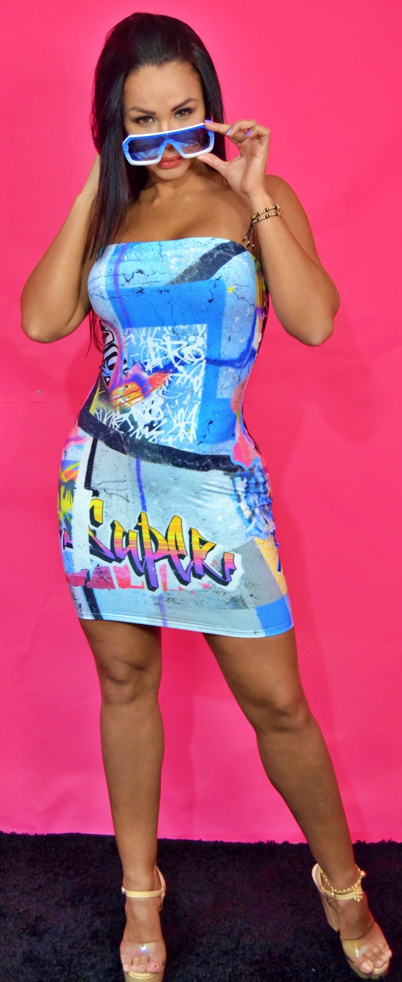 Mir tube top graffiti dress