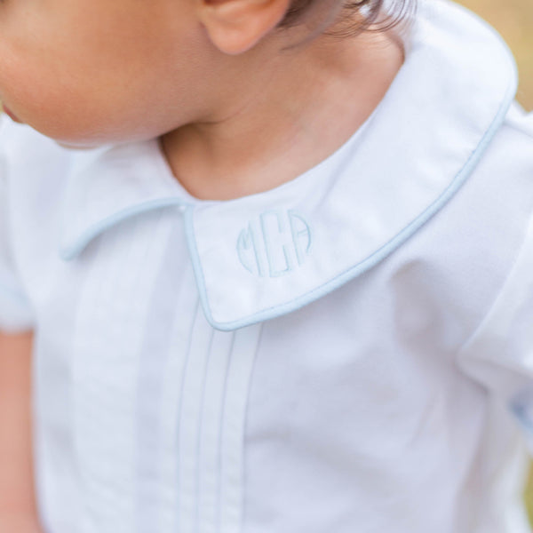 Pleated Bubble with Blue Trim-Miss Monogram