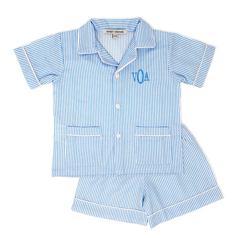 Blue Striped PJ Shorts Set-Miss Monogram