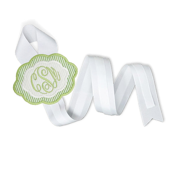 Green & White Bow Holder-Miss Monogram